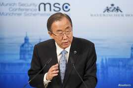 U.N. Secretary-General Ban Ki-moon gives his speech during the annual Munich Security Conference, Feb. 1, 2014.