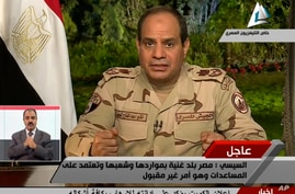 In this image made from video broadcast on Egypt's State Television, Egypt's military chief Abdel-Fattah el-Sissi speaks in a nationally televised speech, announcing that he will run for president, in Cairo, March 26, 2014.