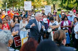 """House Minority Whip Steny Hoyer, D-Md., center, speaks to immigrant rights supporters at the U.S. Capitol in Washington, Sept. 26, 2017. The groups and allies are advocating that Congress pass a """"clean Dream Act"""" that will prevent the deportation of ..."""