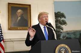 U.S. President Donald Trump delivers a statement following a shooting at a Congressional Republicans baseball practice, at the White House in Washingto, June 14, 2017.