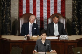 South Korea's President Park Geun-hye addresses a joint session of Congress on Capitol Hill in Washington, May 8, 2013.