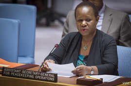 Bintou Keita, assistant secretary-general for peacekeeping operations, briefs the Security Council on the situation in South Sudan, at U.N. headquarters, Feb. 27, 2018.