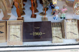 Pre-embargo Cuban cigars displayed in window of Cuban-themed gift shop in the Little Havana neighborhood of Miami, Florida, May 17, 2014.
