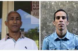 Cuban ward delegates Hildebrando Chaviano Montes, left, and Yuniel Lopez O' Farril, right, are running for municipal assembly April 19 after winning endorsement from their neighbors at public meetings last month, in Havana, Cuba.