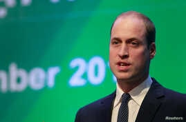 FILE - Britain's Prince William speaks at the Conference on illegal wildlife trade in Hanoi, Vietnam, Nov.17, 2016.