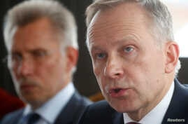 Latvia's central bank governor Ilmars Rimsevics speaks to the media during a news conference in Riga, Latvia, Feb. 20, 2018.
