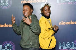 Detroit rap duo Zayion McCall, left, and Zay Hilfigerrr attend the 2016 Nickelodeon HALO Awards at Pier 36 on  Nov. 11, 2016, in New York.
