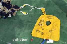This picture posted May 21, 2016, on the official Facebook page of the Egyptian Armed Forces spokesman shows a life vest from EgyptAir flight 804.