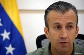 Venezuela's Vice President Tareck El Aissami talks to the media during a news conference in Caracas, Venezuela, Nov. 17, 2017.