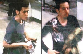 This combination of images released by Interpol and displayed by Malaysian police in Sepang, Malaysia, on March 11, 2014, shows Pouri Nourmohammadi, 19, (left) and Delavar Seyedmohammaderza, 29, who allegedly boarded the now-missing Malaysia Airlines