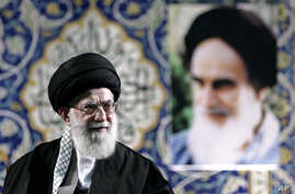 Iran's Supreme Leader Ayatollah Ali Khamenei delivers speech to paramilitary Basij force, saying pressure from economic sanctions will never force country into unwelcome concessions in nuclear negotiations, Tehran, Nov. 20, 2013.