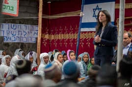 Israeli Justice Minister Ayelet Shaked speaks to members of Ethiopia's Jewish community, during a visit to a synagogue in Addis Ababa, Ethiopia, April 22, 2018.