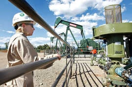 FILE - A BP Florida operations manager looks over a methane gas well site east of Bayfield, Colorado, Aug. 26, 2009.