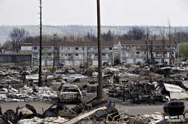 The devastated neighborhood of Abasand is shown after being ravaged by a wildfire in Fort McMurray, Alberta, Canada, May 13, 2016.