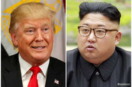 A combination photo shows President Donald Trump in New York, Sept. 21, 2017 and North Korean leader Kim Jong Un in this undated photo released by North Korea's Korean Central News Agency in Pyongyang, Sept. 4, 2017.