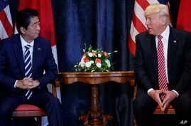 President Donald Trump meets with Japanese Prime Minister Shinzo Abe during the G7 Summit, in Taormina, Italy, May 26, 2017.