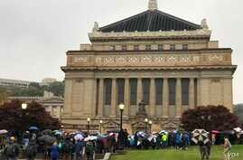 Thousands attended Sunday evening's interfaith vigil for the shooting victims at the Soldiers and Sailors Memorial near the Tree of Life synagogue.