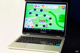 A Google Chromebook displays Candy Crush Saga in New York, Feb. 8, 2017.