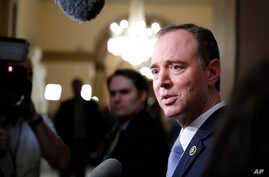FILE - Rep. Adam Schiff, D-Calif., ranking member of the House Intelligence Committee, speaks with reporters on Capitol Hill.