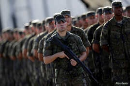 Brazilian army forces soldiers are pictured as they arrive at the Rio de Janeiro Air base to provide security during the Rio 2016 Olympic Games in Rio de Janeiro, Brazil, July 15, 2016.