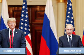 U.S. President Donald Trump and Russian President Vladimir Putin hold a joint news conference after their meeting in Helsinki, July 16, 2018.