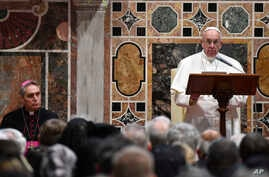 Pope Francis speaks during an audience with diplomats accredited to the Holy See for the traditional exchange of New Year greetings, at the Vatican, Jan. 9, 2017.