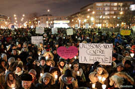 People attend a vigil in support of the Muslim community in Montreal, Quebec, Jan. 30, 2017.