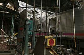 This photo provided by the National Transportation Safety Board shows damage done to the Hoboken Terminal in Hoboken, N.J., Oct. 1, 2016, after a commuter train crash that killed one person and injured more than 100 others last week.