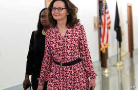 CIA Director nominee Gina Haspel walks to meetings on Capitol Hill in Washington, May 7, 2018.