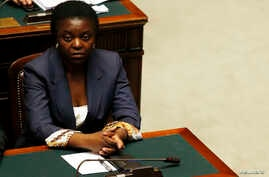 Congo-born Italian Minister for Integration Cecile Kyenge attends at the Lower house of the parliament in Rome, April 29, 2013.