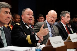 NSA Director General Keith Alexander (2nd L) testifies on Capitol Hill in Washington October 29, 2013. Alongside Alexander are NSA Deputy Director Chris Inglis (L), U.S. Director of National Intelligence James Clapper (2nd R) and Deputy Attorney Gene