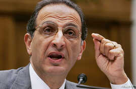 """Public opinion pollster James Zogby testifies before Congress June 10, 2005. His latest opinion poll shows Iran losing support among Arabs and Muslims.ation of the USA Patriot Act."""" - RTXNJ67"""