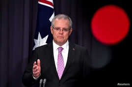 Prime Minister Scott Morrison speaks to the media during a press conference at Parliament House in Canberra, Australia, Oct. 16, 2018.