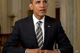 US President Barack Obama tapes his weekly address, March 16, 2012.