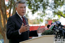 Republican Mark Harris speaks to the media during a news conference in Matthews, N.C., Nov. 7, 2018.