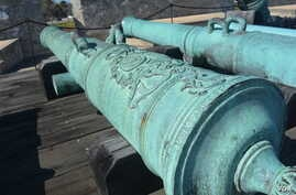 This Spanish 4-pounder cannon can be found at Castillo de San Marcos National Monument in Saint Augustine, Florida, a 17th century fort that is being preserved by the U.S. National Park Service.