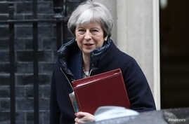 Britain's Prime Minister Theresa May leaves Downing Street after a meeting of the government's special COBRA committee in London, March 7, 2018.