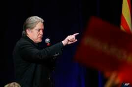 Steve Bannon, former strategist for President Donald Trump, speaks at a campaign rally for Arizona Senate candidate Kelli Ward on Tuesday, Oct. 17, 2017, in Scottsdale, Arizona. Ward is running against incumbent Republican Jeff Flake in next year's G
