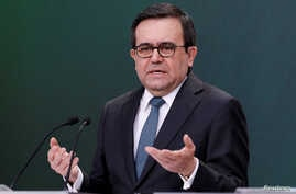 FILE - Mexico's Economy Minister Ildefonso Guajardo at a news in Mexico City, May 1, 2018.