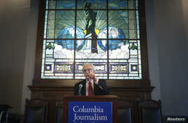 Pulitzer prize administrator Sig Gissler announces the 2014 Pulitzer Prize winners at Columbia University in New York, April 14, 2014.