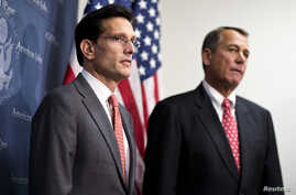 House Republican Leader Eric Cantor (L) pictured here with House Speaker John Boehner on Capitol Hill in Washington in a December 18, 2012, file photo.