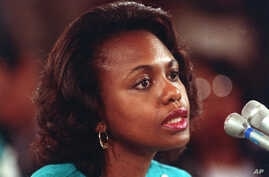 FILE - University of Oklahoma law professor Anita Hill testifies before the Senate Judiciary Committee on the nomination of Clarence Thomas to the Supreme Court, Oct. 11, 1991.