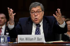 Attorney General nominee William Barr testifies before the Senate Judiciary Committee on Capitol Hill in Washington, Jan. 15, 2019.