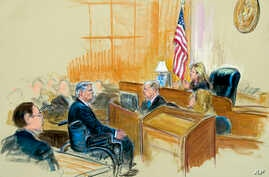 This courtroom sketch shows Paul Manafort listening to Judge Amy Berman Jackson during his sentencing hearing, in Washington,  March 13, 2019.