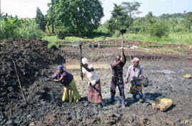 A team of people in the community puts the finishing touches on a pond, one of four they have dug over the last year as part of a community fish-farming business, in Naminya, Uganda, December 2011.
