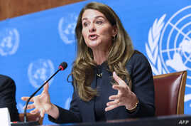 Melinda Gates, co-chair of the Bill & Melinda Gates Foundation, speaks during a press conference on the sidelines of the World Health Assembly, on May 20, 2014, in Geneva.