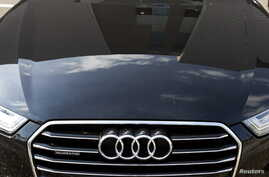 FILE - The hood of an Audi automobile.
