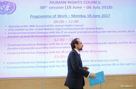 Zeid Ra'ad al-Hussein, outgoing United Nations High Commissioner for Human Rights, attends a Human Rights Council session, at the United Nations in Geneva, Switzerland, June 18, 2018.