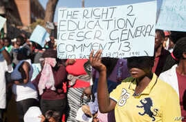 A young woman holds a placard during a march for free basic education in Bulawayo, Zimbabwe.