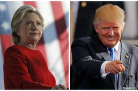 Democratic presidential nominee Hillary Clinton speaks at a campaign rally in Pittsburgh, Pennsylvania, and Republican presidential nominee Donald Trump gestures as he arrives for a campaign rally in Raleigh, North Carolina, Nov. 7, 2016.